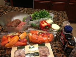 Ingredients for Wild Boar & Venison Stuffed Peppers